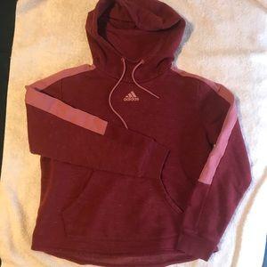 Adidas Red Maroon Pink Pullover Hoodie Sweatshirt